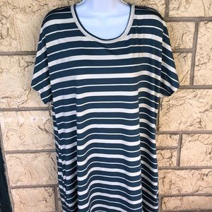 LuLaRoe Mitzi Top Striped Tunic Pocket 3 XL
